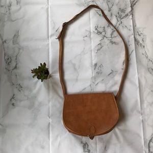Leather camel brown saddlebag purse crossbody